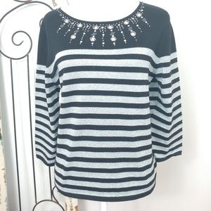 Alfred Dunner silver and black long sleeve top PXL